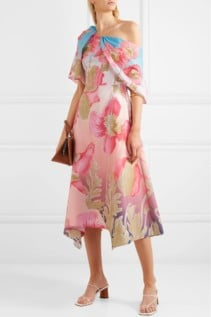 PETER PILOTTO Asymmetric Printed Cotton-Poplin Midi Pink Dress