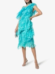 PREEN BY THORNTON BREGAZZI Cecilia One-Shouldered Tiered-Lace Midi Aqua Dress