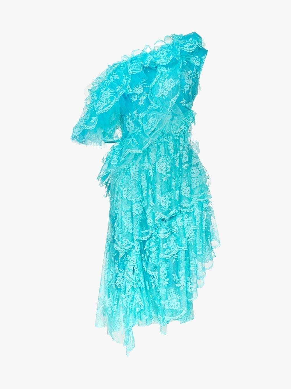 PREEN BY THORNTON BREGAZZI Cecilia One-Shouldered Tiered-Lace Midi Aqua Dress