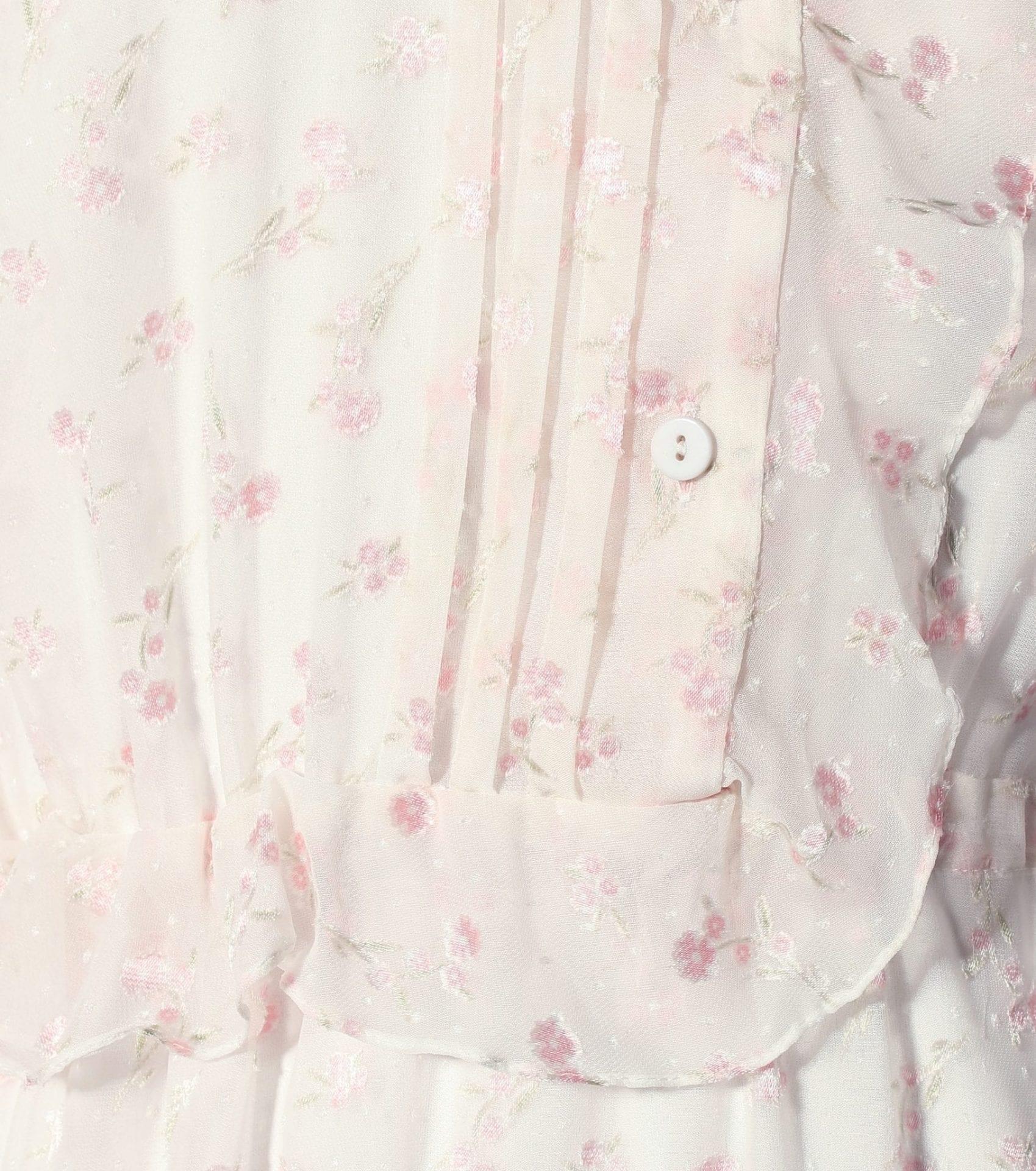 PREEN BY THORNTON BREGAZZI Lana Floral Devoré White Dress