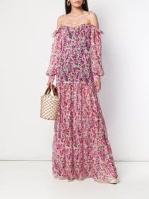 RAQUEL DINIZ Floral Print Pink Dress