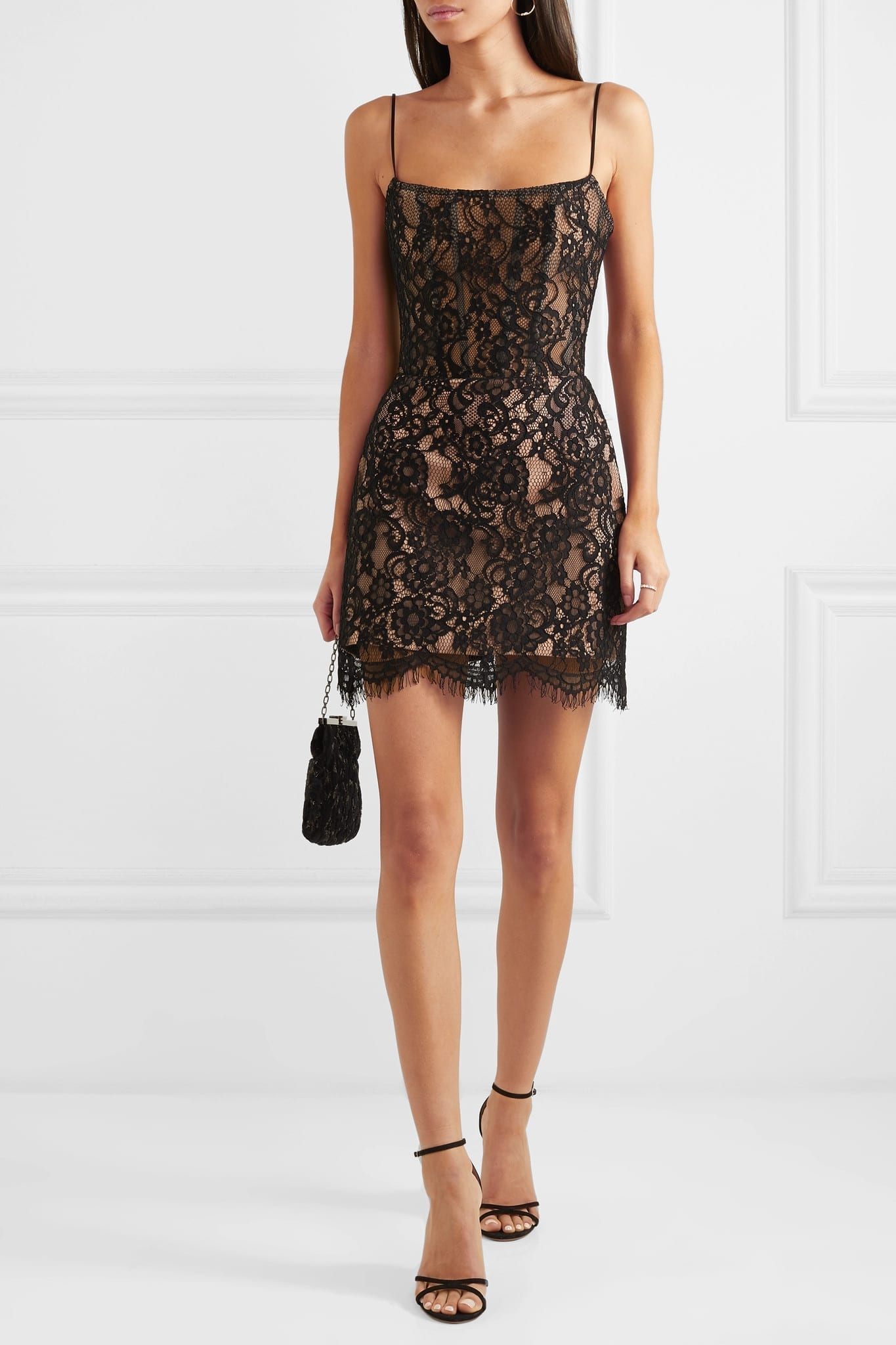 RASARIO Lace Mini Black Dress