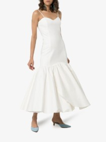 REBECCA DE RAVENEL Sweetheart-Neck Flared White Dress