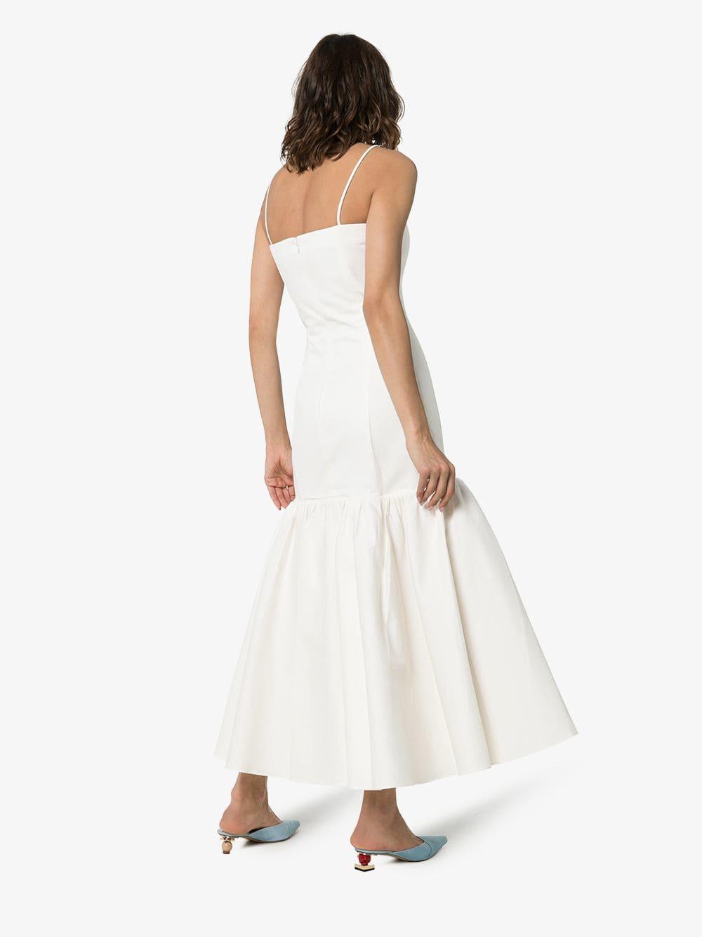 REBECCA DE RAVENEL Sweetheart-Neck Flared White Dress