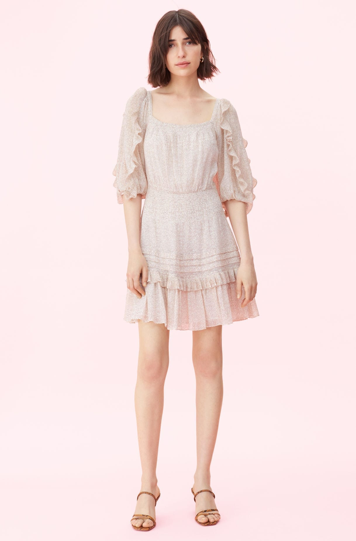 REBECCA TAYLOR Block Vine Print Square Neck Cream Dress