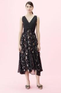 REBECCA TAYLOR Daniella Silk Burnout Black / Floral Printed Dress