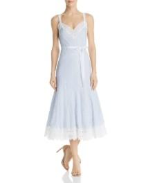 REBECCA TAYLOR Eyelet Trim Striped Midi Blue Dress