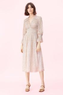 REBECCA TAYLOR Francesca Smocked Cream Dress
