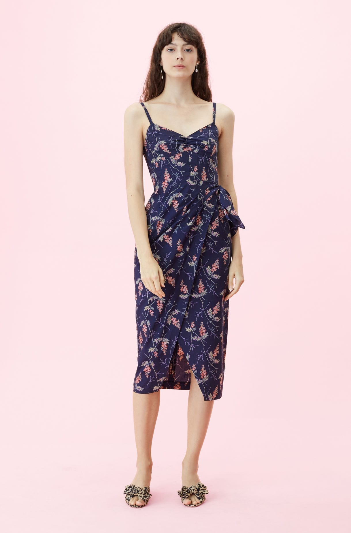 REBECCA TAYLOR Ivie Fleur Print Wrap Navy Dress