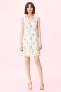 REBECCA TAYLOR Ivie Jacquard Cream / Floral Printed Dress