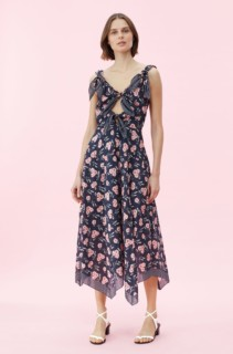 REBECCA TAYLOR La Vie Adelle Scarf Navy / Floral Printed Dress