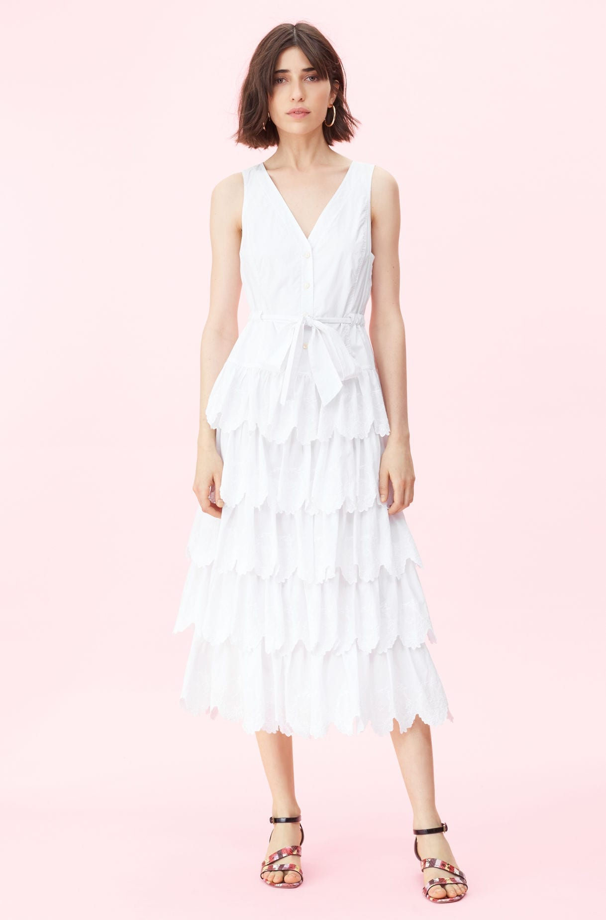 REBECCA TAYLOR La Vie Mireille Embroidered White Dress