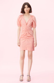 REBECCA TAYLOR La Vie Stretch Cotton Linen Peach Dress