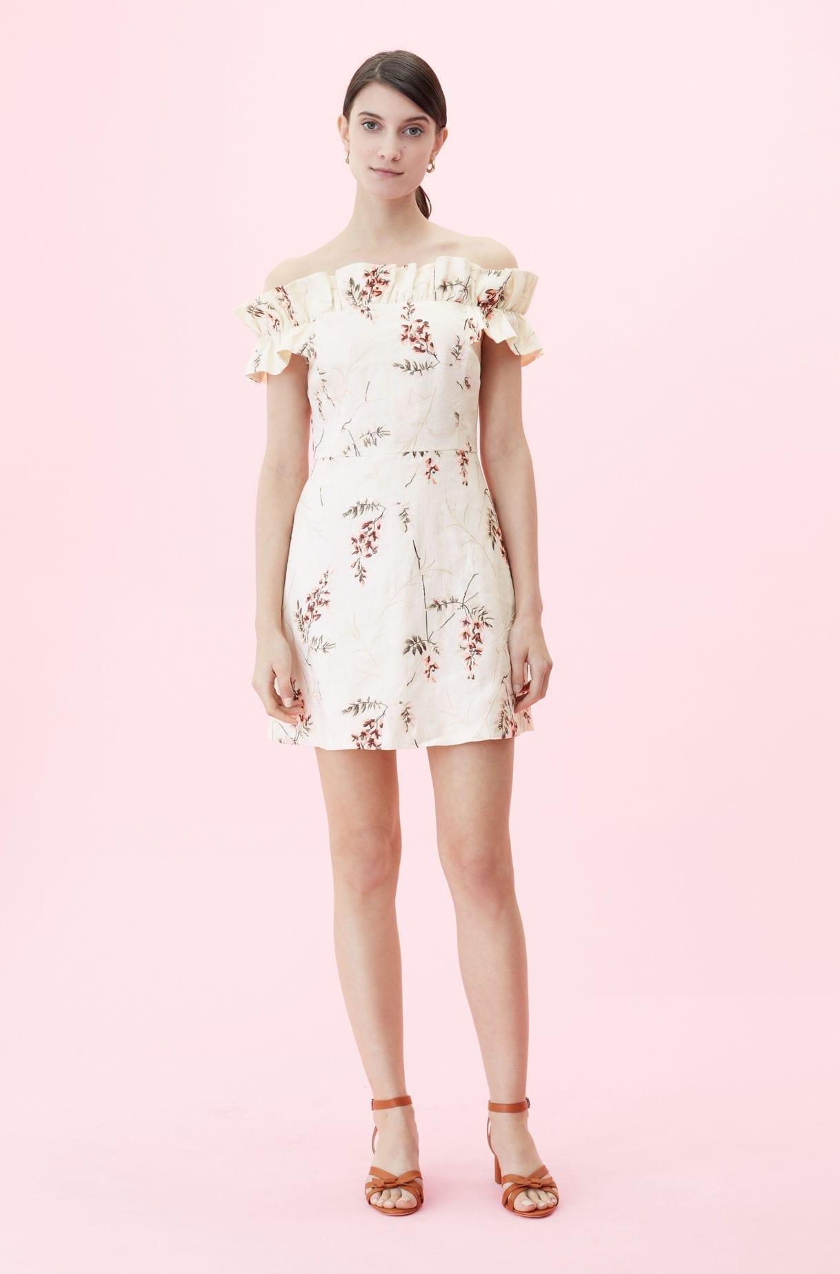 REBECCA TAYLOR Off-the-shoulder Ivie Fleur Embroidered Cream Dress