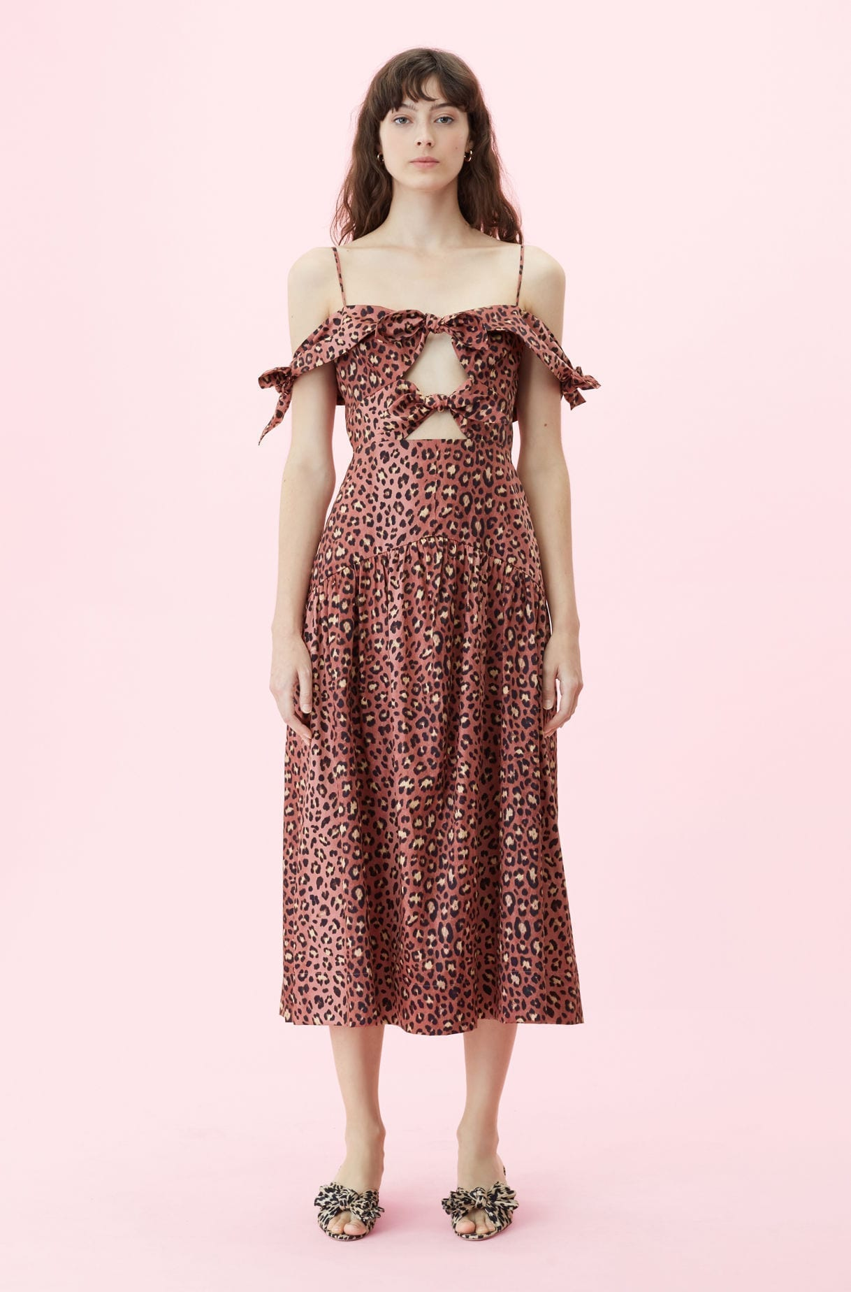 REBECCA TAYLOR Off-the-shoulder Spring Leopard Bow Brown Dress