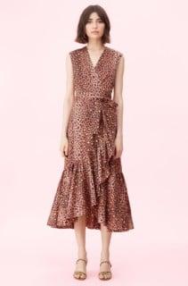REBECCA TAYLOR Spring Leopard Wrap Brown Dress
