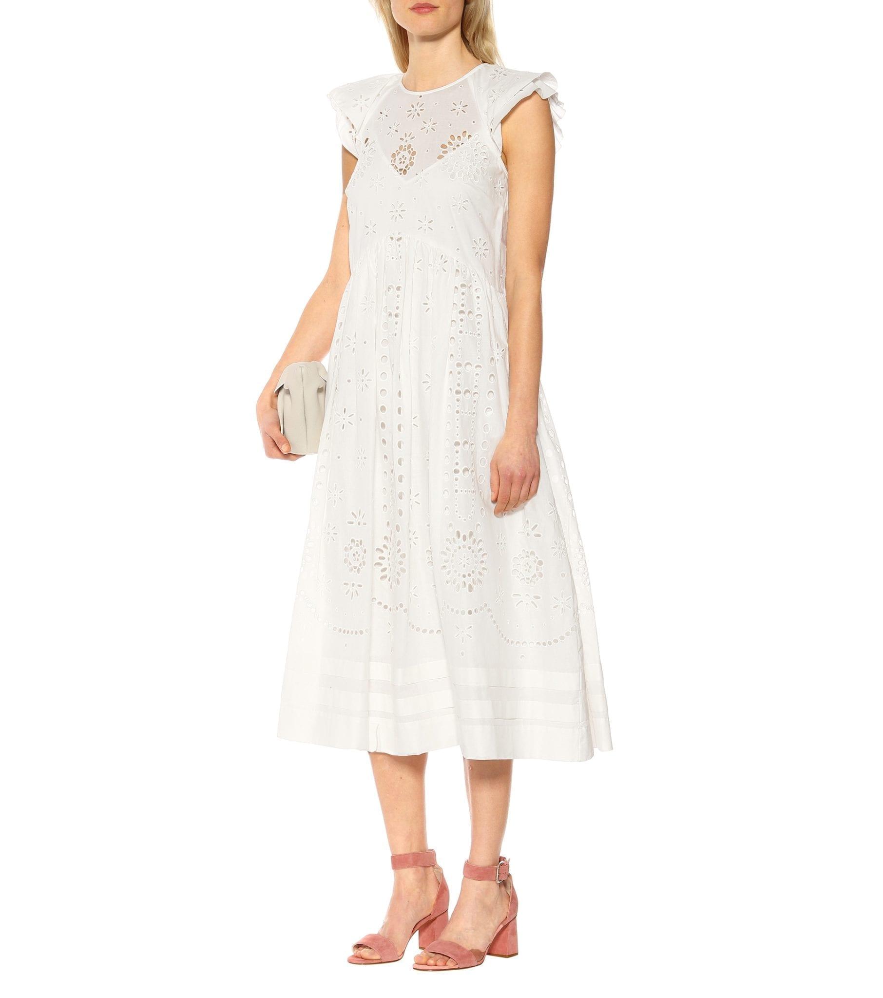 REDVALENTINO Broderie Anglaise Cotton Cream Dress