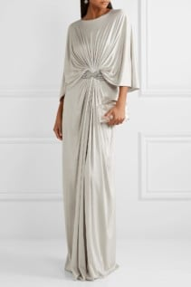 REEM ACRA Draped Embellished Silk-Jersey Maxi Gray Dress