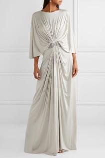 REEM ACRA Draped Embellished Silk-Jersey Maxi Gray Dress