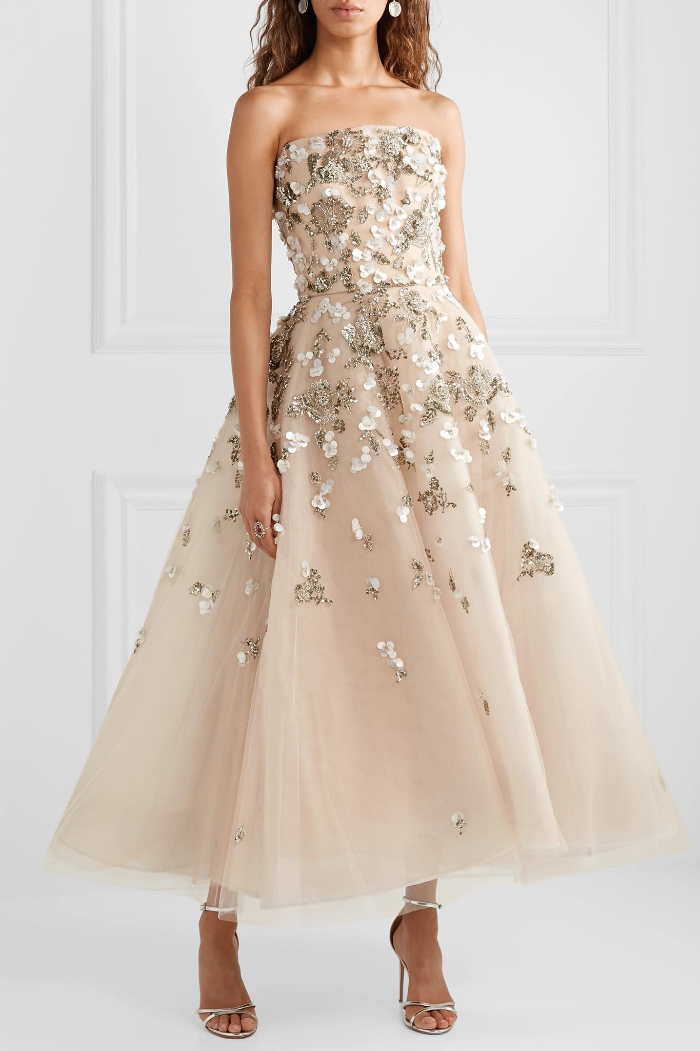 8f87b235e2 REEM ACRA Embellished Tulle Beige Gown - We Select Dresses