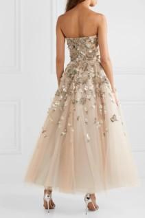 REEM ACRA Embellished Tulle Beige Gown