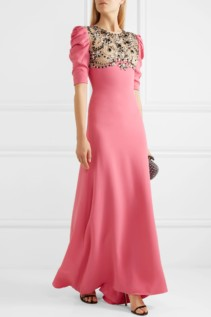 REEM ACRA Embellished Tulle-Paneled Silk Crepe De Chine Pink Gown