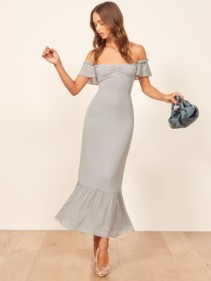 REFORMATION Butterfly Grey Dress