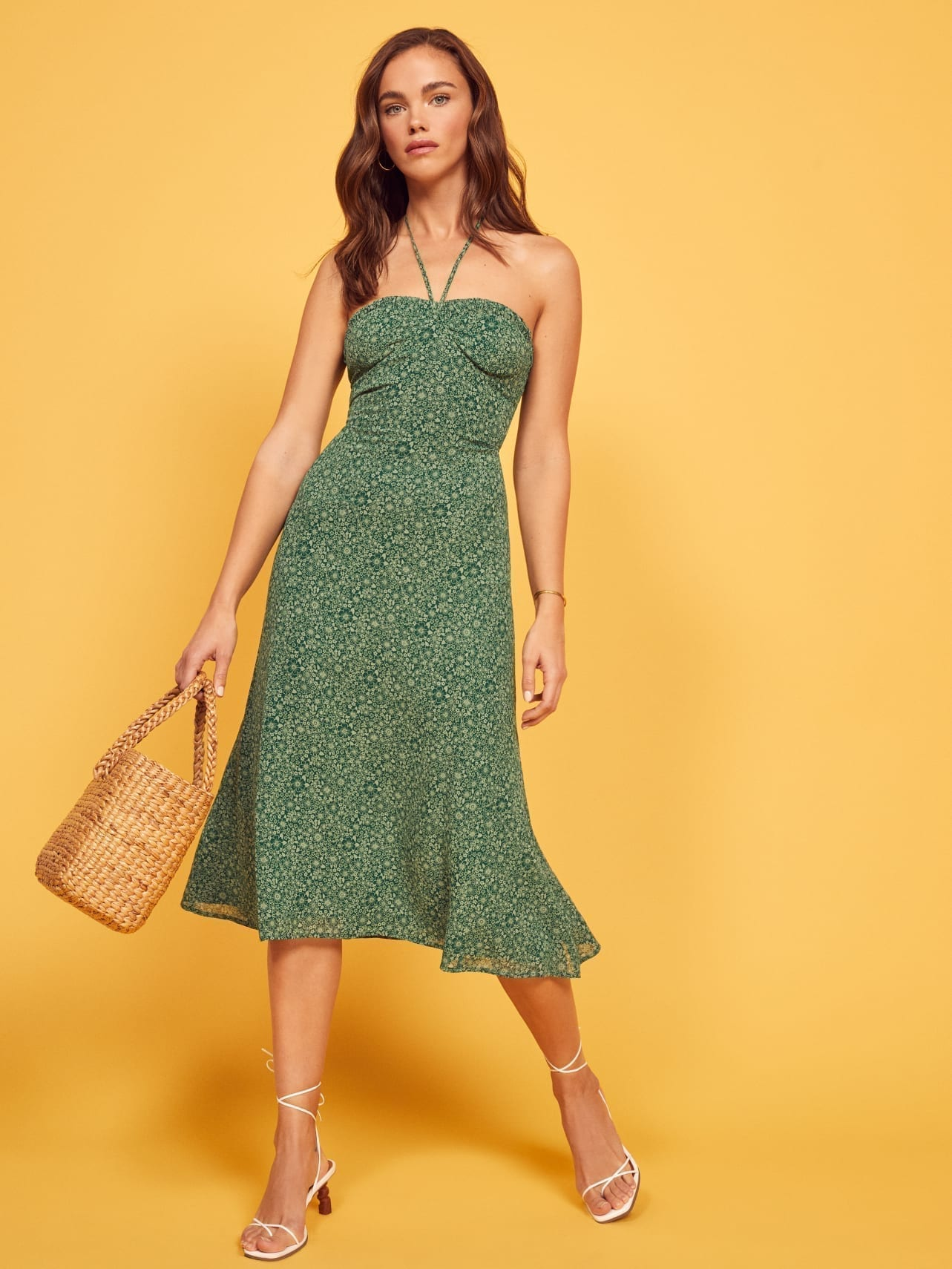 REFORMATION Harley Green Dress