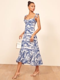 REFORMATION Nikita Blue Dress