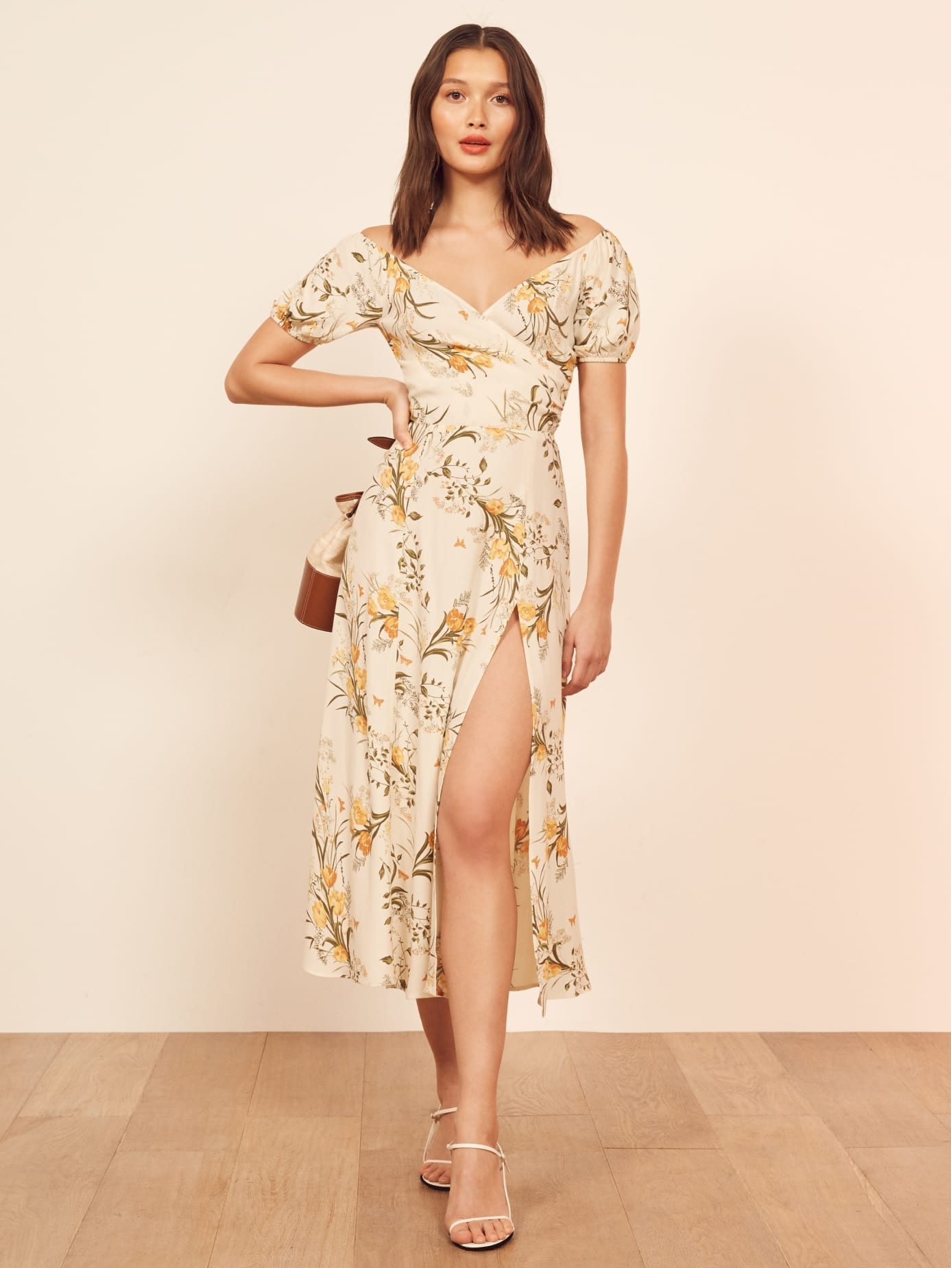 REFORMATION Pearl Cream / Floral Printed Dress