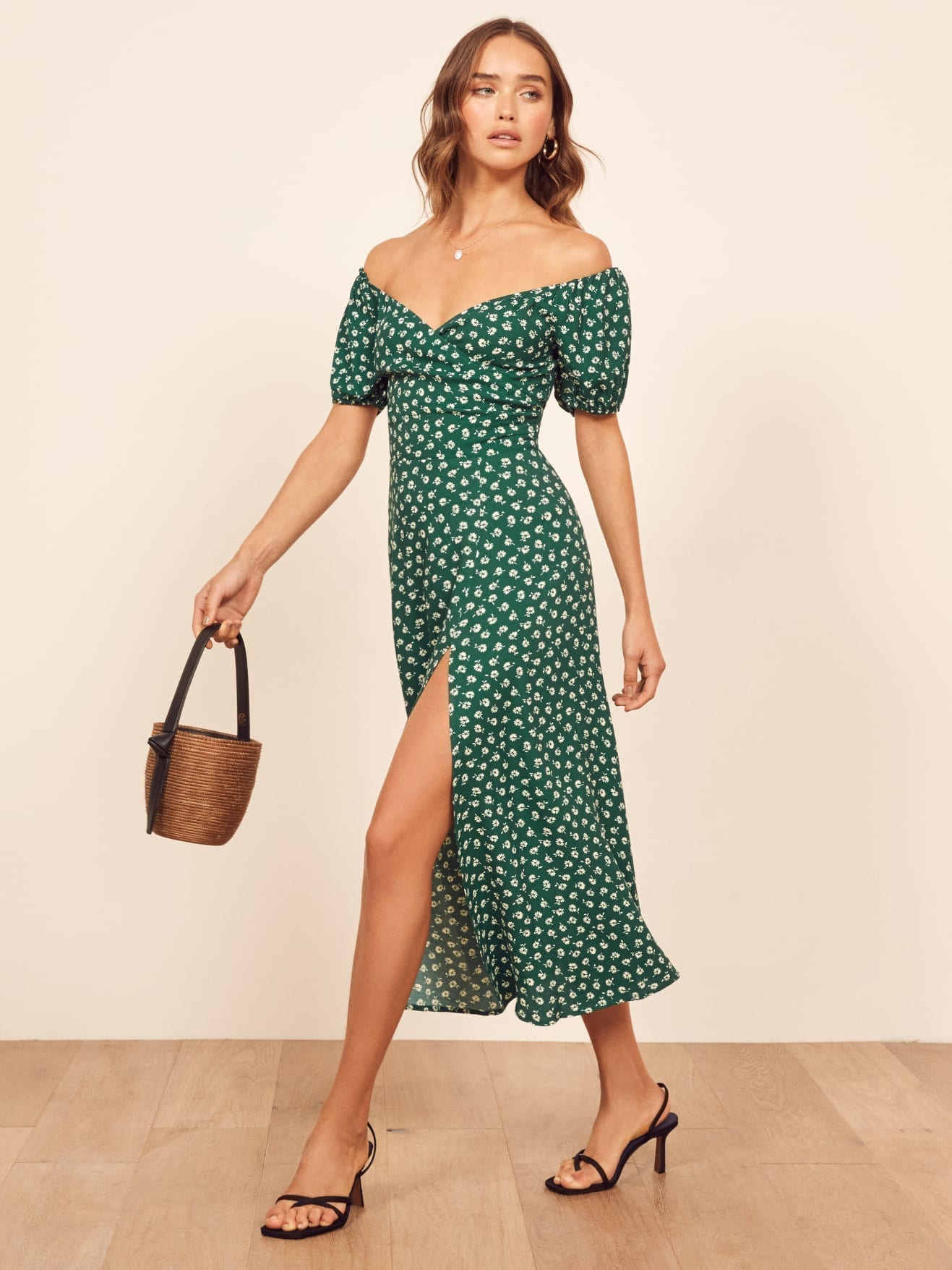 REFORMATION Pearl Green Dress