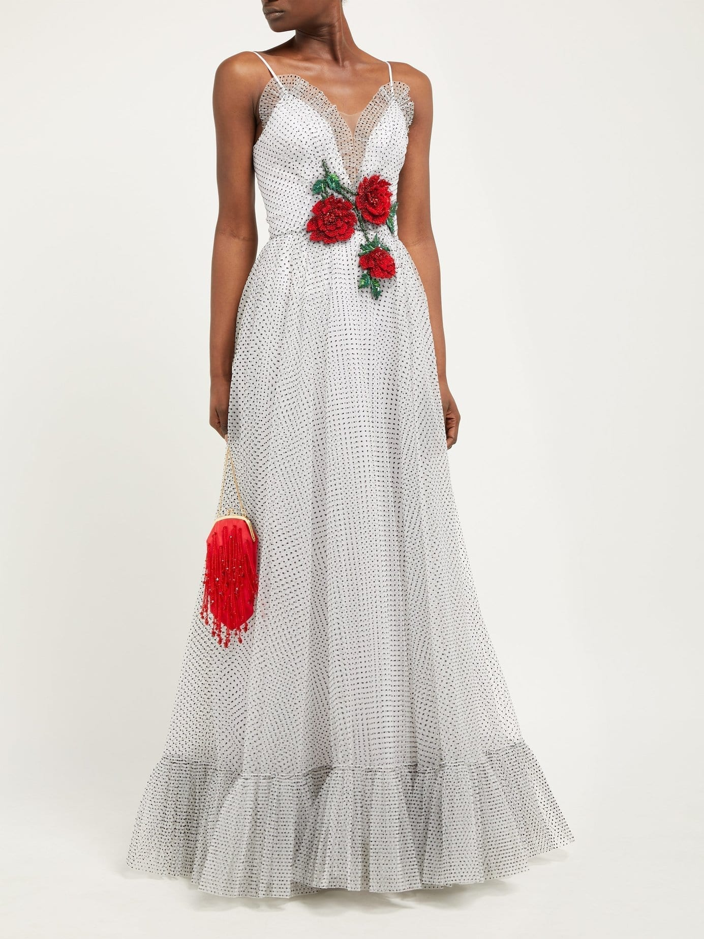 RODARTE Sequinned Rose-Appliquéd Polka-Dot Mesh White Gown