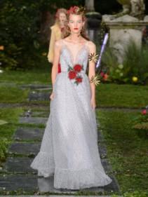 RODARTE Sequinned Rose-Appliquéd Polka-Dot Mesh White Gown