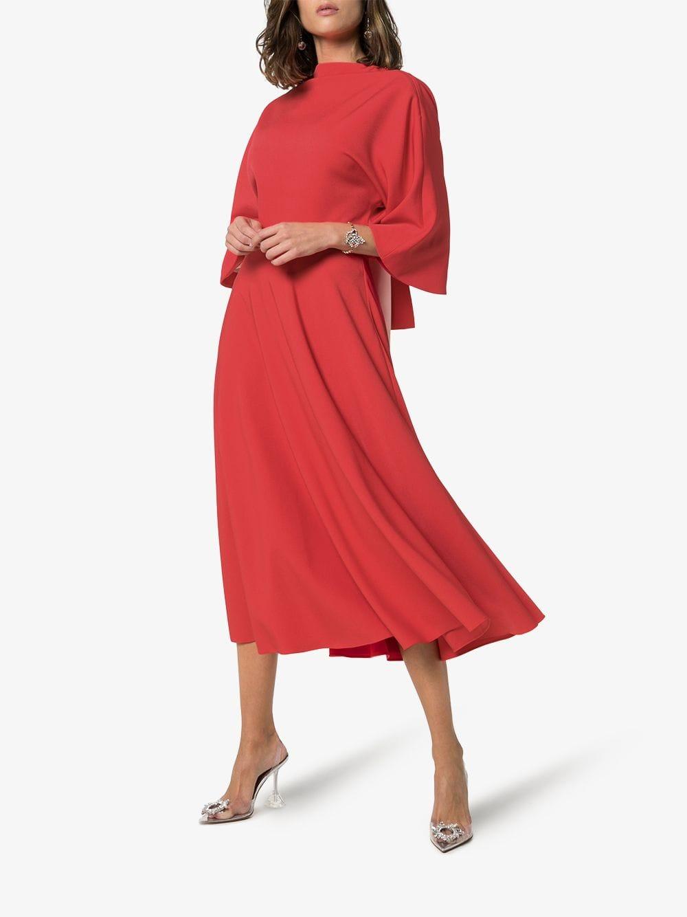 ROKSANDA Bow-Detail Silk Midi Red Dress