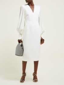 ROKSANDA Essi Bell-sleeve Crepe Midi White Dress