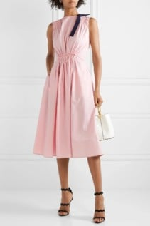 ROKSANDA Grosgrain-Trimmed Shirred Cotton-Poplin Midi Pink Dress