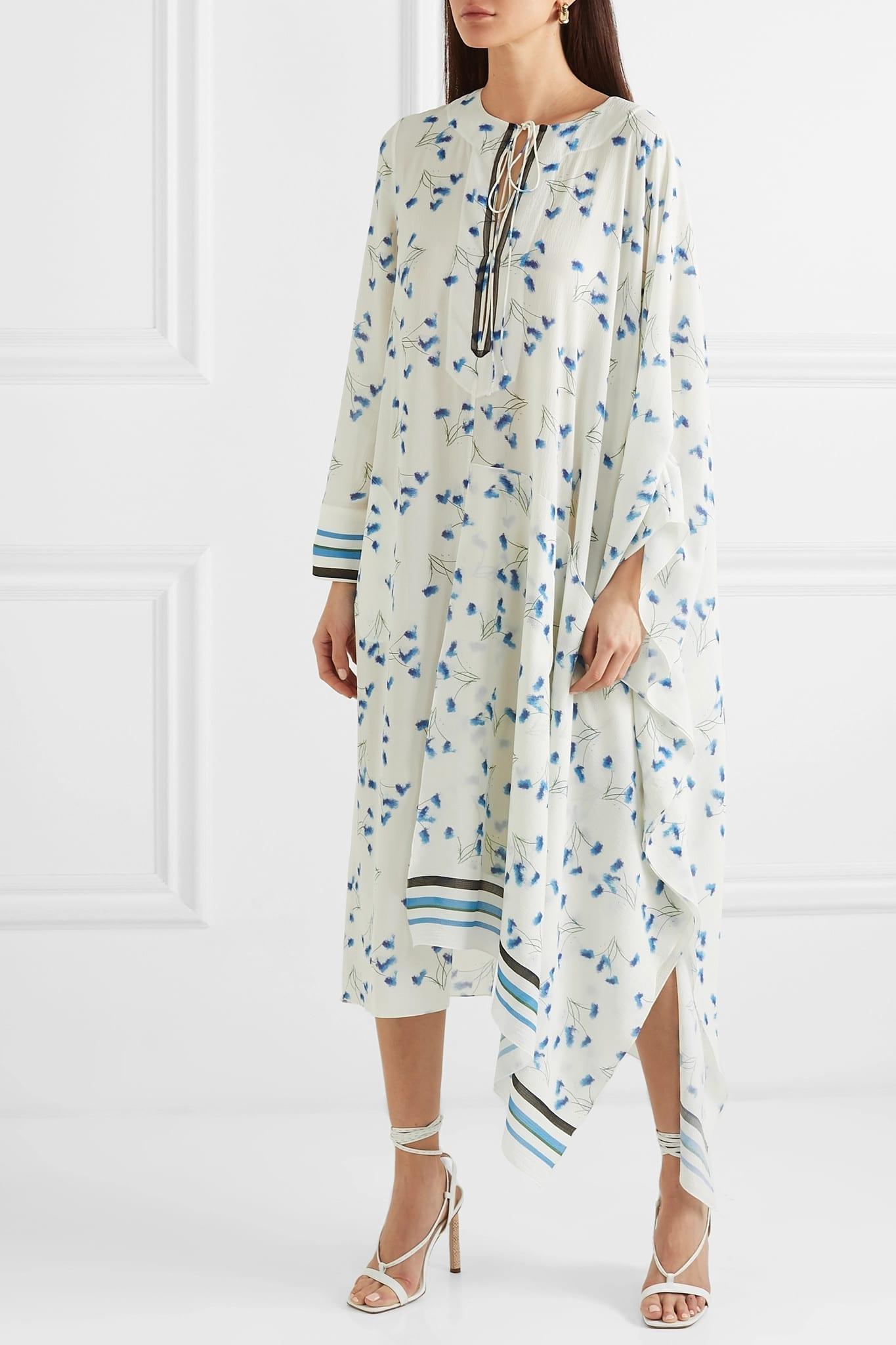 7580a2611f ROLAND MOURET Damon Mesh-Trimmed Printed Crepe White Dress - We ...