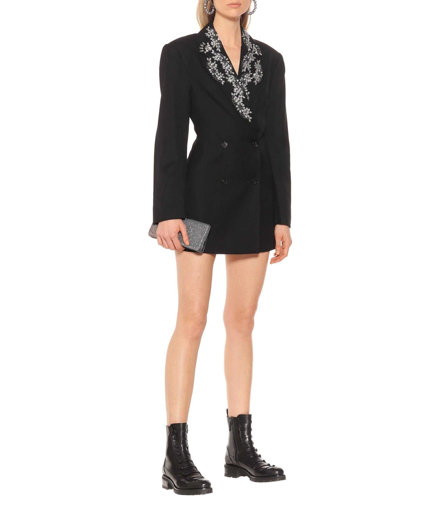ROTATE BIRGER CHRISTENSEN Wool-Blend Blazer Black Dress
