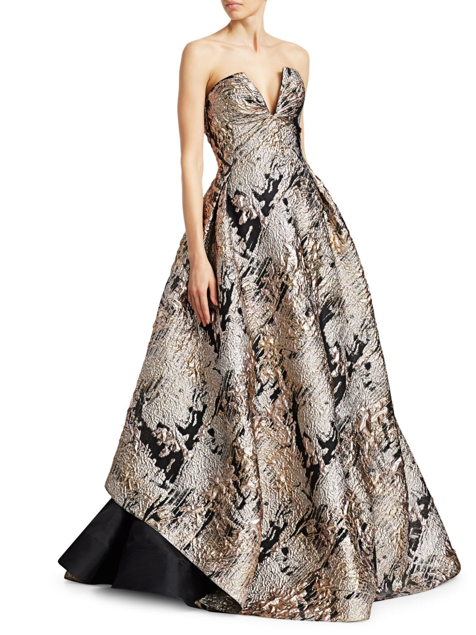 RUBIN SINGER Strapless Brocade Metallic Gown