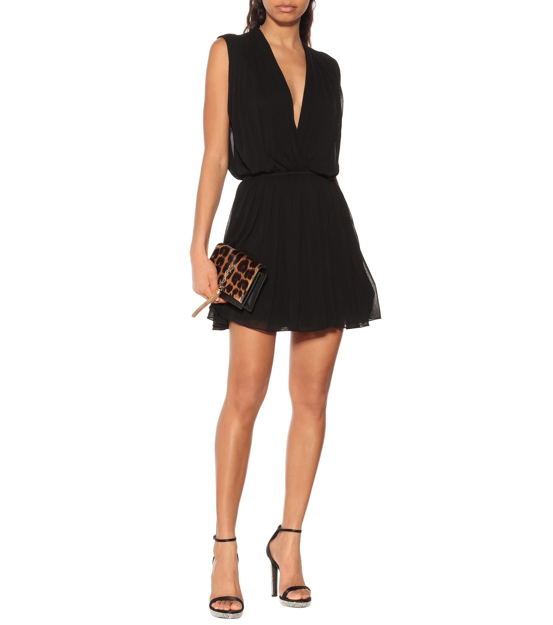 SAINT LAURENT Crêpe Mini Black Dress