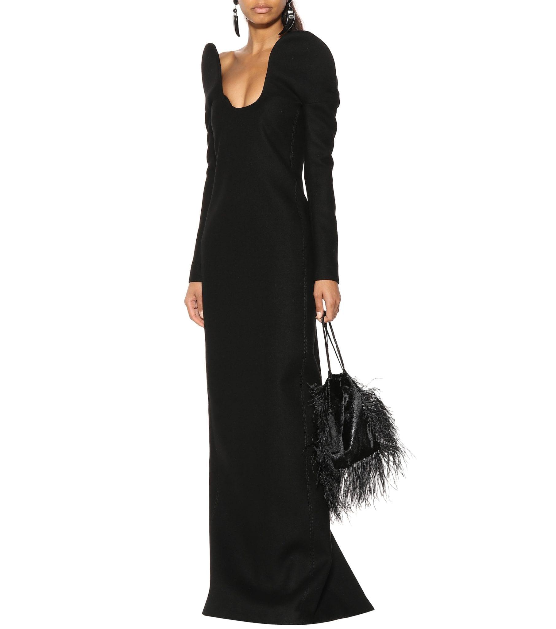 SAINT LAURENT Drap De Laine Column Black Dress