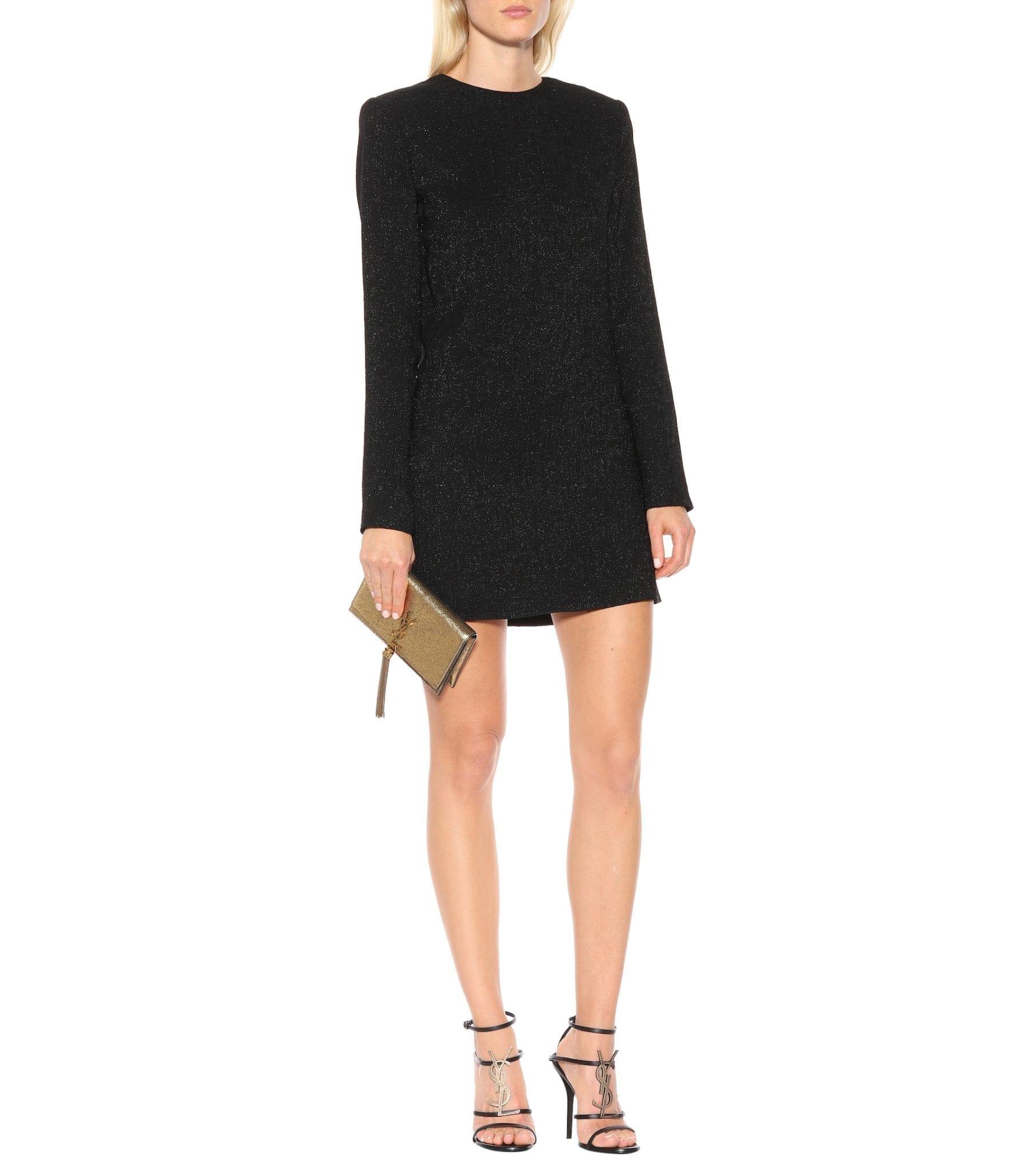 SAINT LAURENT Jacquard Mini Black Dress