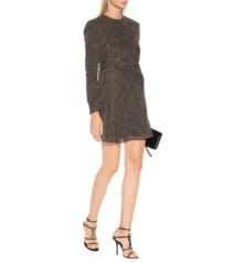 SAINT LAURENT Leopard Virgin Wool Mini Black Dress