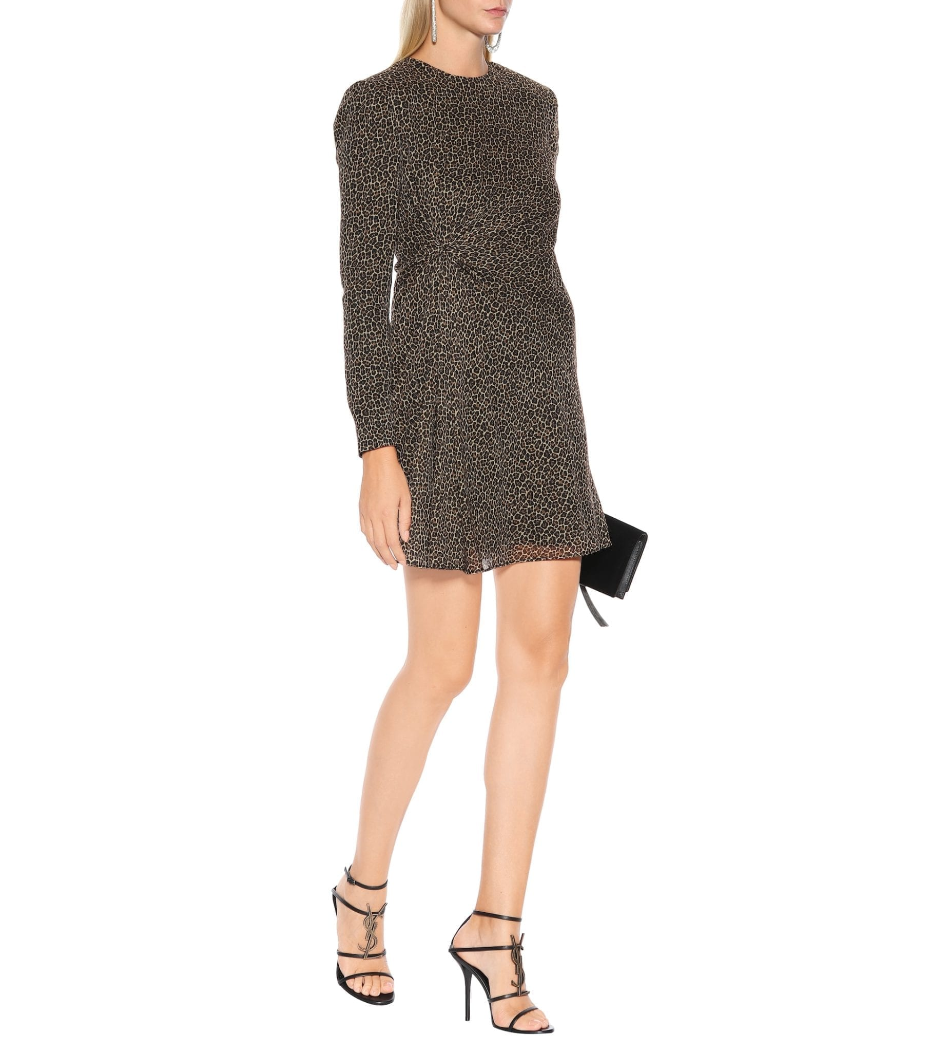 SAINT LAURENT Leopard Virgin Wool Mini Black Dress