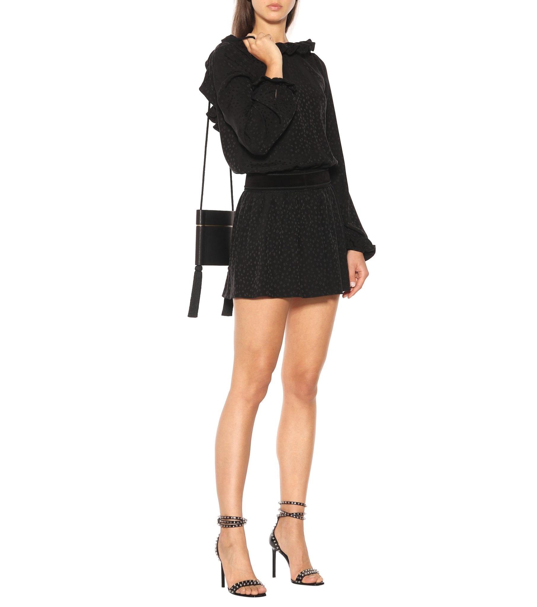 SAINT LAURENT Long-sleeved Silk Mini Black Dress