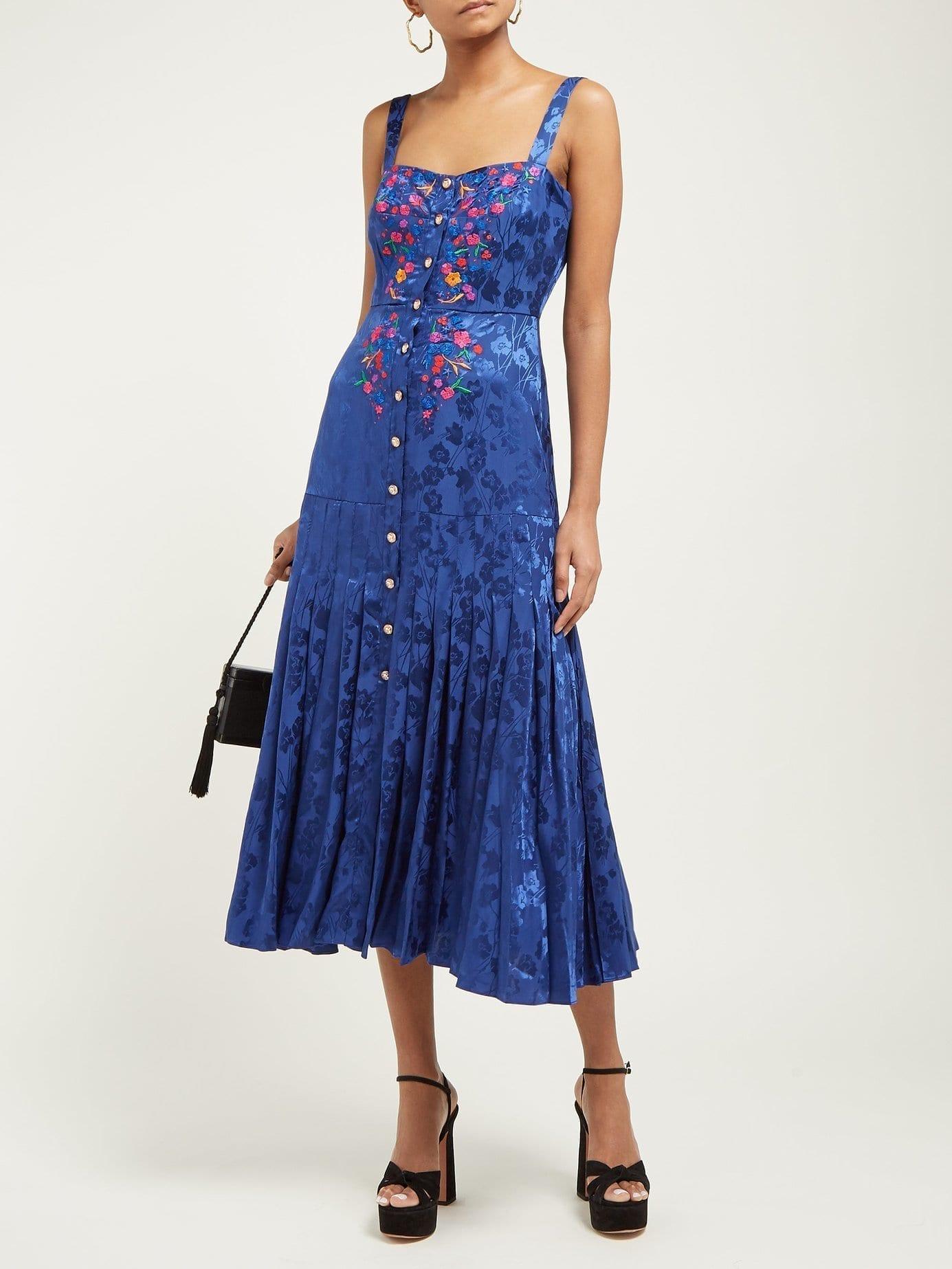 SALONI Karen Floral-Jacquard Silk Midi Blue Dress