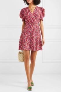 SALONI Lea Floral-Print Silk Crepe De Chine Mini Red Dress