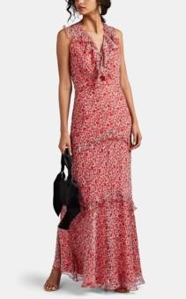 SALONI Rita Floral Silk Maxi Red Dress