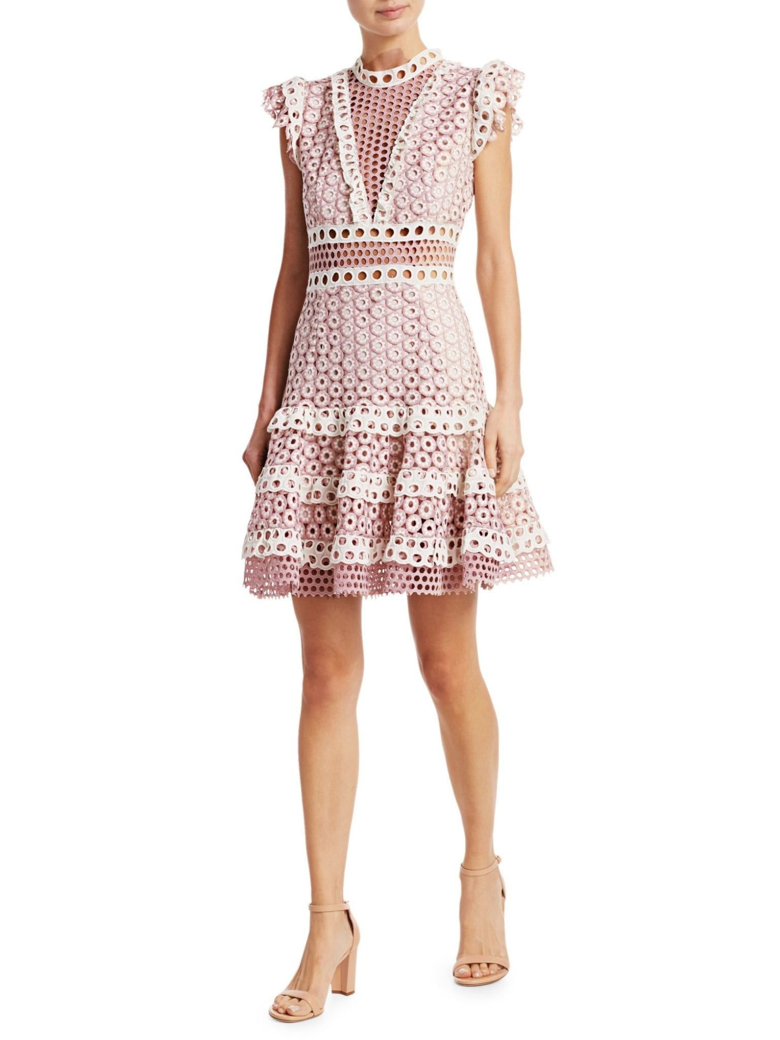 SEA Josie Crochet Lace Blush Dress