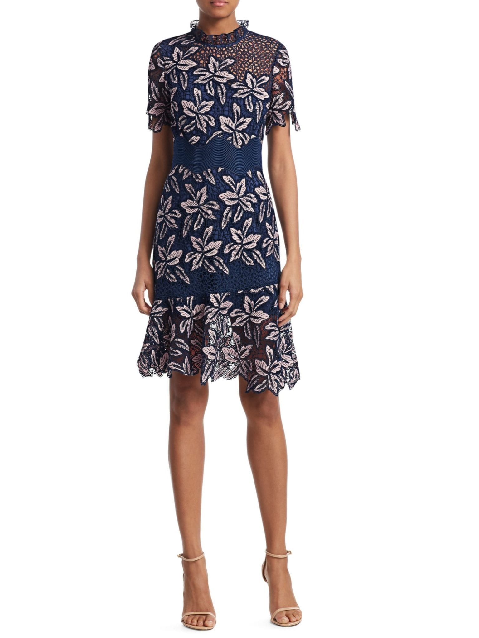 SEA Mosaic Lace High-Neck Sheath Navy Dress